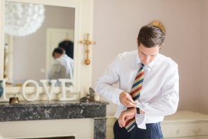 Groom prepares for wedding featured on Escape to the Chateau DIY